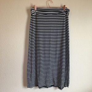J. Crew black and white stripes maxi skirt